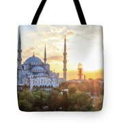 Blue Mosque Sunset Tote Bag