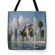 Blue Mosque Through The Fountain Tote Bag