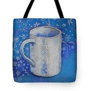 Blue Mug With Flowers Tote Bag