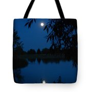 Blue Night Moon And Reflection Tote Bag