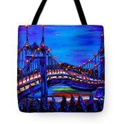 Blue Night Of St. Johns Bridge 37 Tote Bag