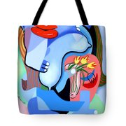 Blue Nude With Tulips Tote Bag
