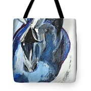 Blue Olympic Horse  Tote Bag