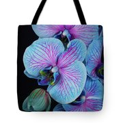 Blue Orchid On Black Tote Bag