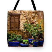 Blue-painted Plant Pots Tote Bag