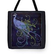 Blue Peacock Art Nouveau Tote Bag