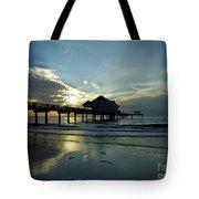 Blue Pier 60 Sunset Tote Bag