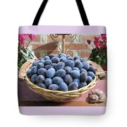 Blue Plums In A Basket Tote Bag