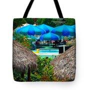 Blue Pool Umbrellas Tote Bag