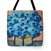 Blue Poppies In Square Vase  Tote Bag