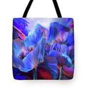 Blue Poppies On Red Tote Bag