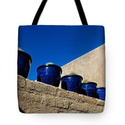 Blue Pottery On Wall Tote Bag