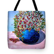 Blue Pottery With Flowers Tote Bag
