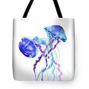 Blue Purple Jellyfish Artwork Design Tote Bag