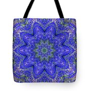 Blue Purple Lavender Floral Kaleidoscope Wall Art Print Tote Bag