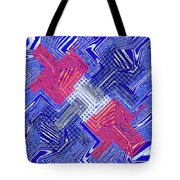 Blue Red And White Janca Abstract Panel Tote Bag