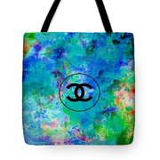 Blue Red Black Chanel Logo Print Tote Bag