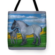 Blue Roan Mare With Her Colt Tote Bag