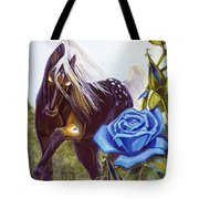 Blue Rose Unicorn Tote Bag