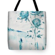 Blue Roses On A Table Tote Bag