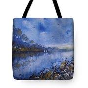 Blue Sail, Watercolor Painting Tote Bag