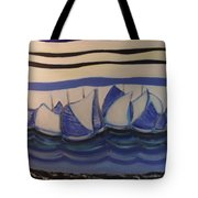 Blue Sailing Boats In The Harbour Tote Bag