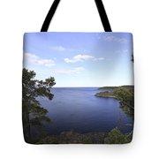 Blue Sea And Pine Trees Tote Bag