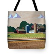 Blue Silo-marquetry-image Tote Bag