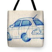 Blue Sketch Of A Car From Left Rear View With A Rear Aerial  Tote Bag