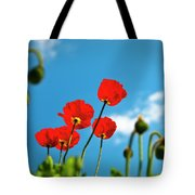 Blue Sky And Poppies Tote Bag