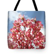 Blue Sky Clouds Landscape 7 Pink Dogwood Tree Baslee Troutman Tote Bag