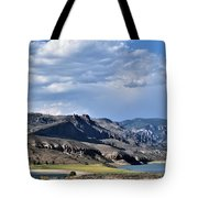 Blue Sky, Clouds With Mountain In Foreground  Tote Bag