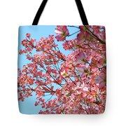 Blue Sky Floral Art Print Pink Dogwood Tree Flowers Baslee Troutman Tote Bag