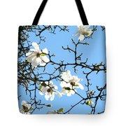 Blue Sky Floral Art White Magnolia Tree Tote Bag