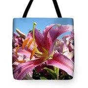 Blue Sky Floral Landscape Pink Lilies Art Prints Canvas Baslee Troutman Tote Bag