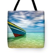 Blue Sky, Green Water And Iconic Boat Tote Bag
