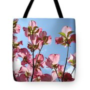 Blue Sky Landscape White Clouds Art Prints Pink Dogwood Flowers Baslee Troutman Tote Bag