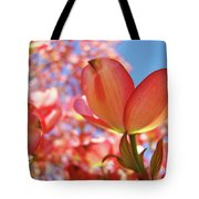 Blue Sky Pink Azalea Dogwood Flowers 4 Landscape Nature Artwork Tote Bag