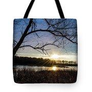 Blue Sky Sunrise On The Marsh Tote Bag