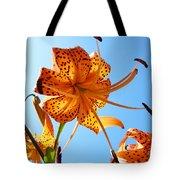 Blue Sky Tiger Lily Floral Garden Art Prints Baslee Troutman Tote Bag