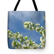 Blue Sky White Clouds Landscape Art White Tree Blossoms Spring Tote Bag