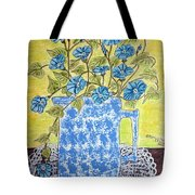 Blue Spongeware Pitcher Morning Glories Tote Bag