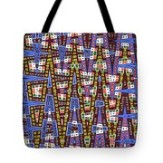 Blue Squares With Dots Tote Bag