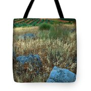 blue stones amongst the olive groves near Iznajar Andalucia Spain Tote Bag