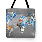 Blue Street Art World Map Tote Bag