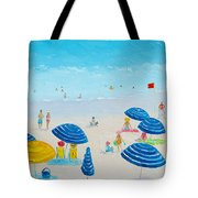 Blue Striped Umbrellas Tote Bag