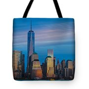 Blue Sunset At The World Trade Center Tote Bag