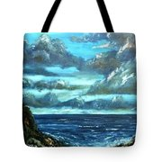 Blue Sunset Oil Beach Painting Tote Bag