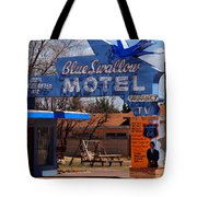 Blue Swallow Motel On Route 66 Tote Bag