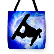 Blue Swirl Snowstorm Tote Bag